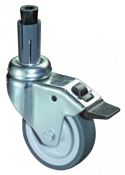 Apparaterolle mit Totalfeststeller A324.A80 Lauffläche Gummi grau Kunststoff Gleitlager Expanderbefestigung BS Rollen