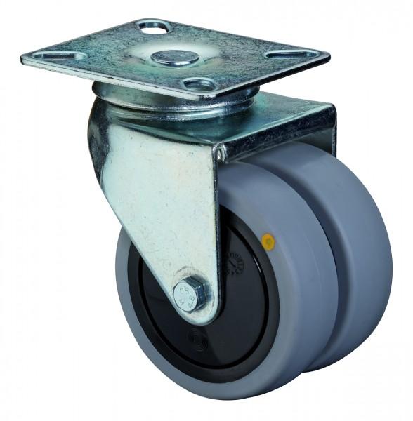 Apparatedoppelrolle B100.A89 Lauffläche Gummi grau antistatisch Radkörper Kunststoff Kugellager Plattenbefestigung Tragfähigkeit 60 - 80 kg