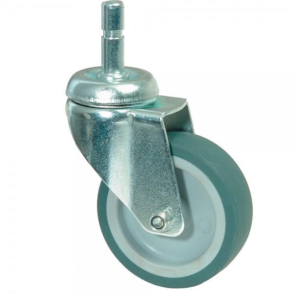 Apparaterolle Lenkrolle Gummirad grau Kunststoff Gleitlager Einschlagstift A103.A80