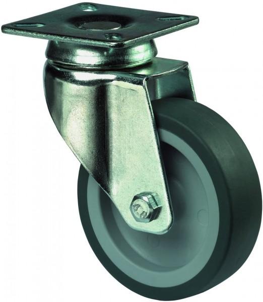 Apparaterolle Lenkrolle Gummirad Plattenbefestigung A100.A80.075
