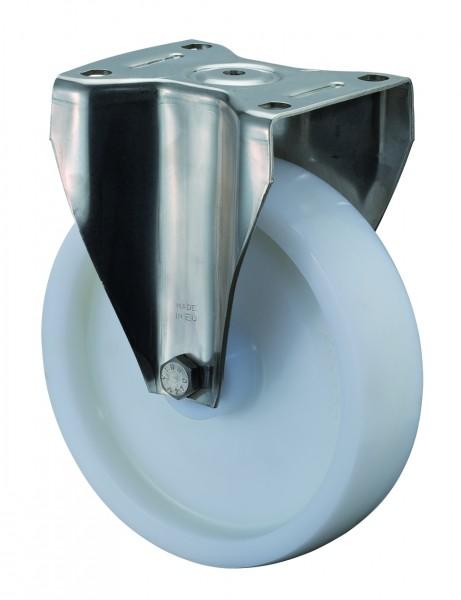 Edelstahl Schwerlastrolle HS110.B14 Bockrolle Lauffläche und Radkörper Kunststoff Edelstahl-Rollenlager Plattenbefestigung Tragfähigkeit 300 - 700 kg BS Rollen