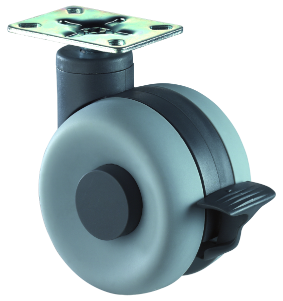 Möbelrolle Kunststoff Doppelrolle mit Bremse grau F362