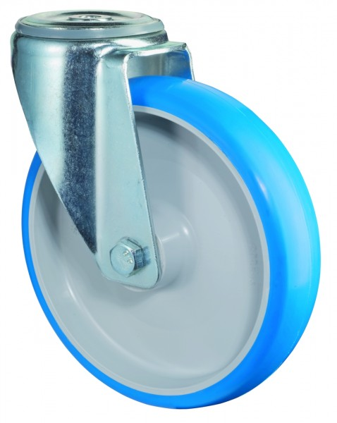 Transportrolle L101.B36 Lenkrolle Lauffläche Polyurethan blau Radkörper Kunststoff Rollenlager Rückenloch