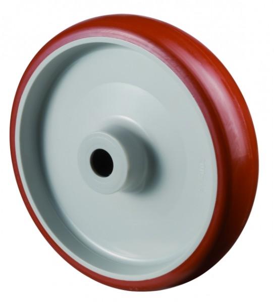 Polyurethanrad B31 Lauffläche Polyurethan rot Radkörper Kunststoff Rollenlager BS Rollen