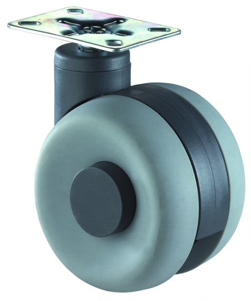 Möbelrolle Kunststoff Doppelrolle grau F362