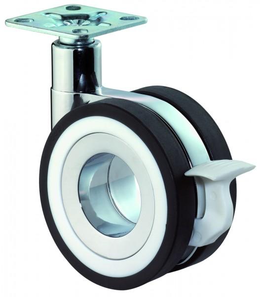 Design-Doppelrolle Plattenbefestigung Bremse F371 schwarze Reifen