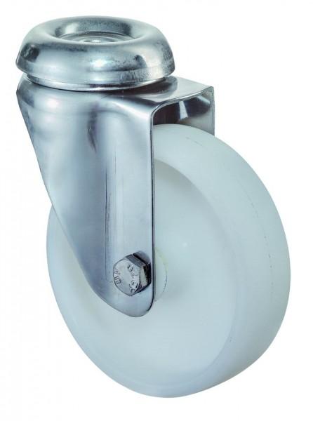 Edelstahl Apparaterolle G101.A90 Lenkrolle Kunststoffrad A90 Rückenloch