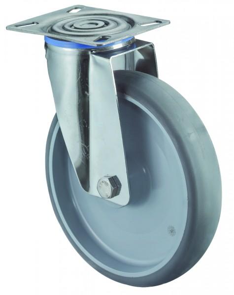 Edelstahl Transportrolle H100.B43 Lenkrollen Reifen thermoplastisch grau Radkörper Kunststoff Gleitlager Plattenbefestigung