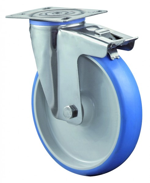 Edelstahl Transportrolle mit Totalfeststeller H120.B32 Lenkrolle Totalfeststeller Lauffläche Polyurethan blau Radkörper Kunststoff Gleitlager Plattenbefestigung