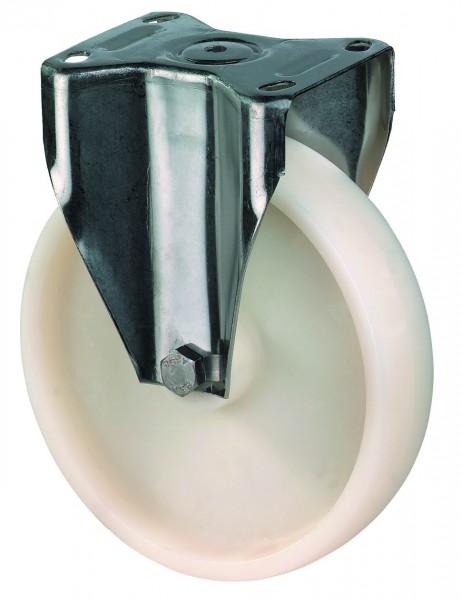 Edelstahl Transportrollen H110.A90 Lauffläche und Radkörper Kunststoff Gleitlager Plattenbefestigung