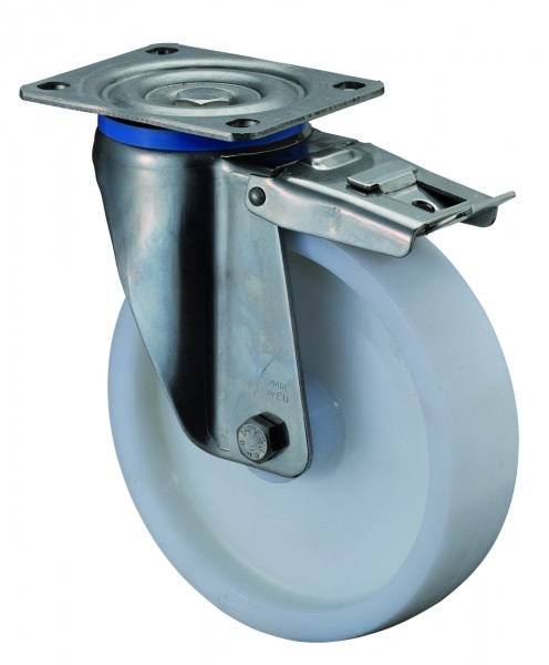 Edelstahl Schwerlastrolle mit Totalfeststeller HS100.B14 Lenkrolle Lauffläche und Radkörper Kunststoff Edelstahl-Rollenlager Platte Tragf. 300 - 700 kg BS Rollen