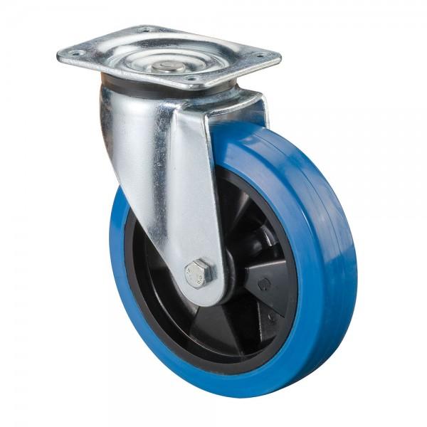 Schwerlastrolle Blue Wheel Elastikgummirad L600.B61 Lenkrolle