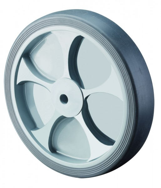 TPE Gummirad B44 Lauffläche thermoplastisch grau Radkörper Kunststoff Rollenlager BS Rollen