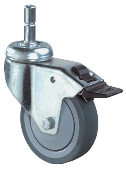 Apparaterolle Lenkrolle Feststeller Gummirad grau Kunststoff Kugellager Einschlagstift A123.A85
